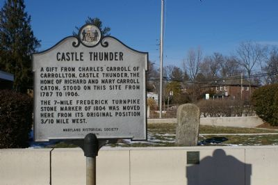 Castle Thunder marker, and the milestone it referrs to, in front of the Catonsville Library image. Click for full size.