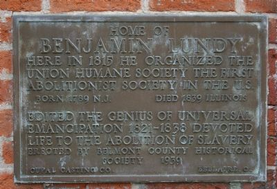 Home of Benjamin Lundy Marker Photo, Click for full size