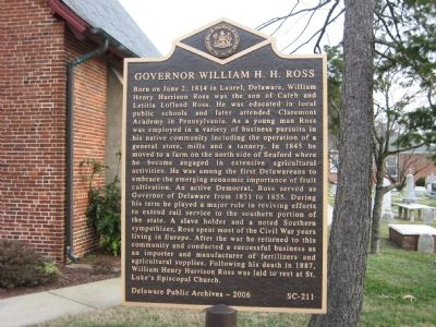 Governor William H. H. Ross Marker Photo, Click for full size