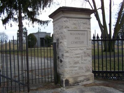 Entrance Gate to Woodward Hill Cemetery. image. Click for full size.