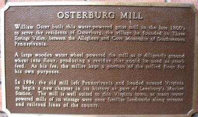 Osterburg Mill Marker Photo, Click for full size