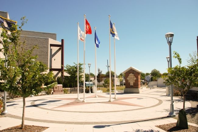 The Veterans Memorial Plaza and National Guard Armory Marker image. Click for full size.