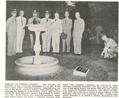 Newspaper article on Pigeon Memorial Dedication Ceremony image. Click for full size.