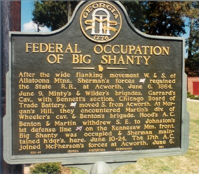 FEDERAL OCCUPATION OF BIG SHANTY Marker image. Click for full size.