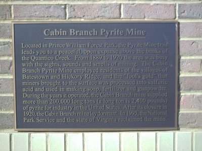 Cabin Branch Pyrite Mine Marker Photo, Click for full size