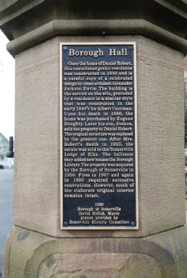 Somerville Borough Hall Marker on Right Gate Support image. Click for full size.