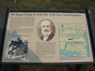 We Began Firing At Will: The 111th New York Regiment Marker image. Click for full size.