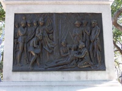 bas relief - the dying hero's last moments after the attack of October 9, 1779. image. Click for full size.