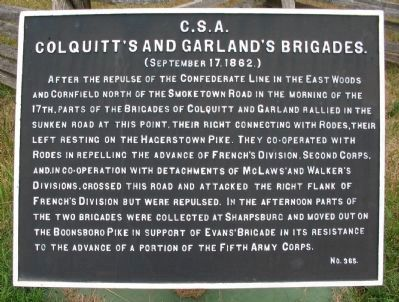 Colquitt's and Garland's Brigades Marker image. Click for full size.