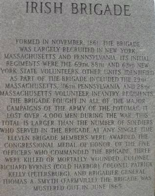 Right Side of Irish Brigade Monument image. Click for full size.