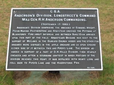 Anderson's Division, Longstreet's Command Tablet image. Click for full size.