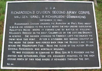 Richardson's Division, Second Army Corps Marker image. Click for full size.