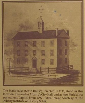 Detail of Marker Showing old State House image. Click for full size.