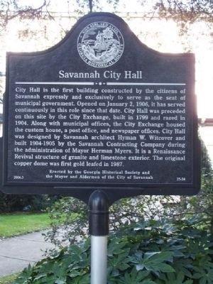 Savannah City Hall Marker Photo, Click for full size