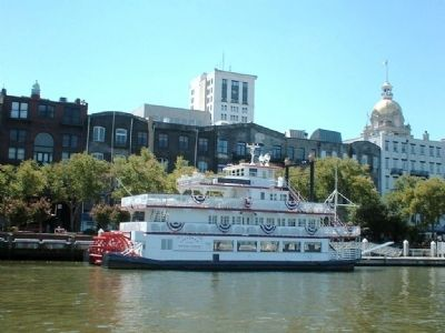 City Hall's Gold Dome, on right, as seen from the Savannah River Photo, Click for full size