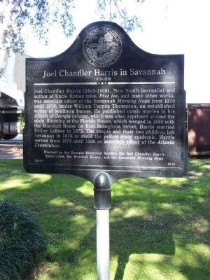 Joel Chandler Harris in Savannah 1870-1876 Marker Photo, Click for full size
