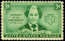 A stamp in honor of Juliette Gordon Low image. Click for full size.
