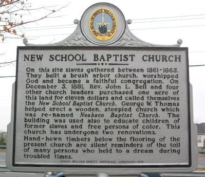 New School Baptist Church Marker image. Click for full size.