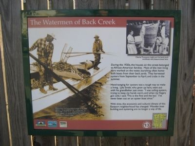 The Watermen of Back Creek Marker image. Click for full size.