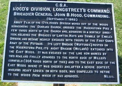 Hood's Division, Longstreet's Command Marker image. Click for full size.