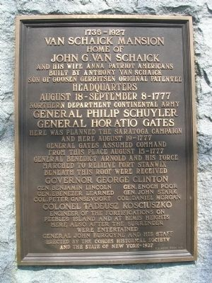 Van Schaick Mansion marker - Cohoes, New York Photo, Click for full size