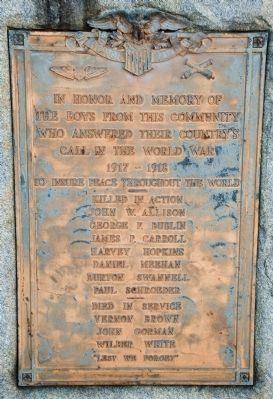 Honor Roll of World War I Killed in Action (right of dedication plaque) image. Click for full size.
