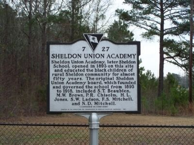 Sheldon Union Academy Marker </b><i>Front image. Click for full size.