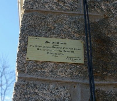 Plaque on Mt. Gilboa African Methodist Episcopal Church Photo, Click for full size
