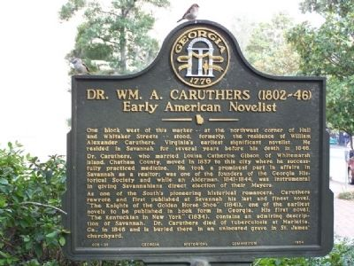 Dr. Wm. A. Caruthers (1802~46) Early American Novelist Marker image. Click for full size.