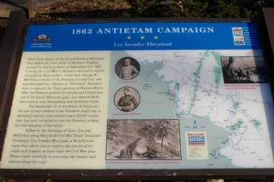 1862 Antietam Campaign - Lee Invades Maryland Marker image. Click for full size.