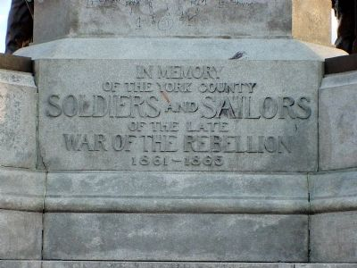 Inscription on Soldiers and Sailors Monument image. Click for full size.