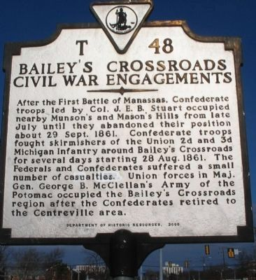 Bailey's Crossroads Civil War Engagements Marker image. Click for full size.