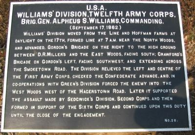 William's Division, Twelfth Army Corps Marker image. Click for full size.