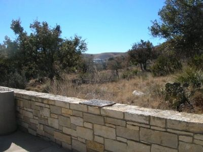 Marker set on top of stone wall. image. Click for full size.