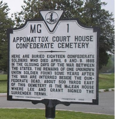 Appomattox Court House Confederate Cemetery Marker image. Click for full size.