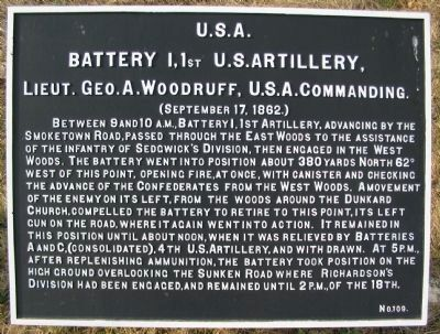 Battery I, 1st U.S. Artillery Marker image. Click for full size.