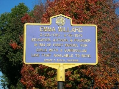 Emma Willard Marker in Troy, New York image. Click for full size.