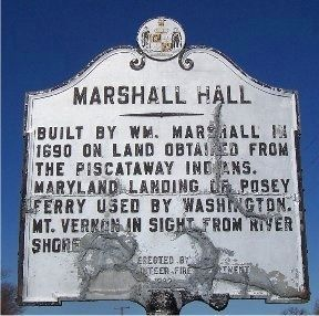Damaged marker for Marshall Hall image. Click for full size.