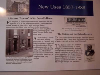 Marker describing later uses of the Carroll Mansion - New Uses 1857 - 1889 image. Click for full size.