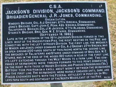 Jackson's Division, Jackson's Command Marker image. Click for full size.