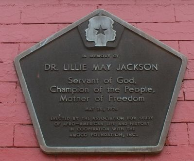 In Memory of Dr. Lillie May Jackson Marker image. Click for full size.
