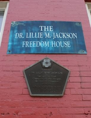 The Dr. Lillie May Jackson Freedom House sign image. Click for full size.