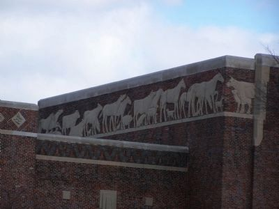 Detail of Art Work at Top of Building. Photo, Click for full size