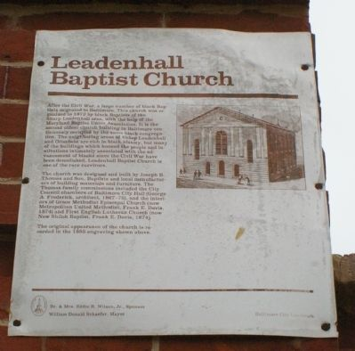 Leadenhall Baptist Church Marker Photo, Click for full size
