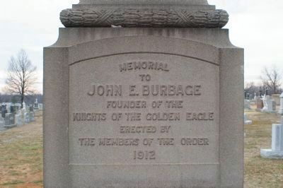 Memorial to John E. Burbage image. Click for full size.