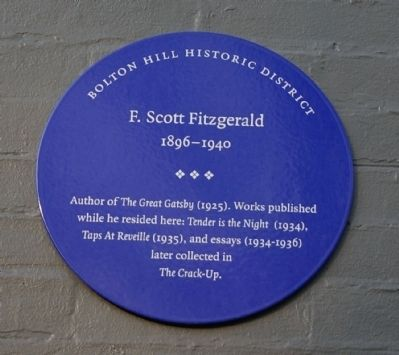 F. Scott Fitzgerald Marker image. Click for full size.