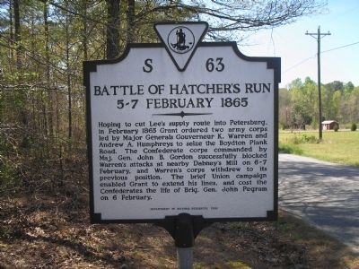 Battle of Hatcher's Run Marker image. Click for full size.