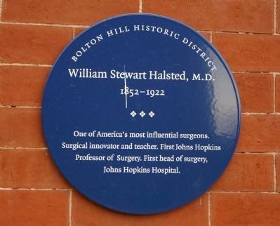 William Stewart Halsted, M.D. Marker image. Click for full size.