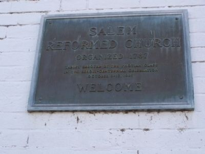 Plaque on Old Salem Church image. Click for full size.
