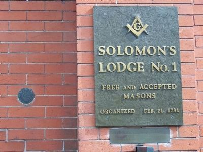 ..Solomon's Lodge No.1 Free and Accepted Masons Organized Feb. 21, 1734 image. Click for full size.